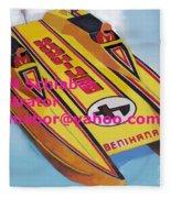 Cigarett Power Boat Illustration Fleece Blanket