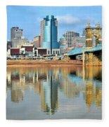 Cincinnati Skyline Reflects Fleece Blanket