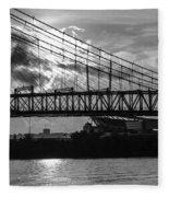 Cincinnati Suspension Bridge Black And White Fleece Blanket