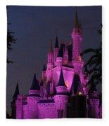 Cinderella Castle Illuminated In Pink Glow Fleece Blanket