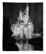 Cinderella's Castle Reflection Black And White Fleece Blanket