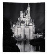 Cinderella's Castle Reflection Black And White Fleece Blanket