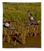 Cinnamon Teal Pair In Flight Fleece Blanket