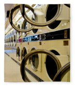 Circular Doors On Laundromat Washing Machines Fleece Blanket