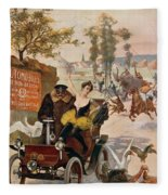 Circus Star Kidnapped Wilhio S Poster For De Dion Bouton Cars Fleece Blanket