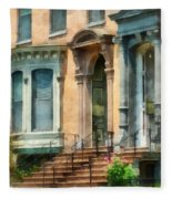 Cities - Albany Ny Brownstone Fleece Blanket