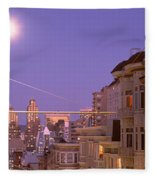 City At Night, San Francisco Fleece Blanket