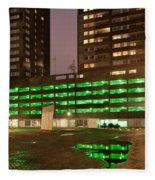 City At Night Urban Abstract Fleece Blanket