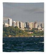 City At The Waterfront, Salvador Fleece Blanket