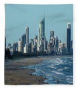 City At The Waterfront, Surfers Fleece Blanket