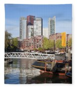 City Centre Of Rotterdam In Netherlands Fleece Blanket