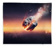City Destroyed By Meteor Shower Fleece Blanket