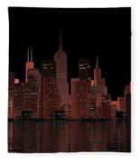 Chicago City Dusk Fleece Blanket