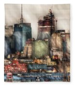 City - Hoboken Nj - New York Skyscrapers Fleece Blanket