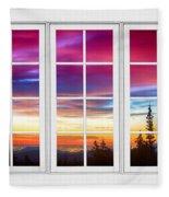 City Lights Sunrise View Through White Window Frame Fleece Blanket