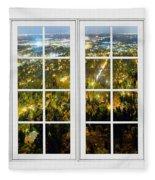 City Lights White Window Frame View Fleece Blanket