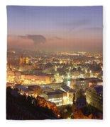 City Lit Up At Night, Esslingen Fleece Blanket