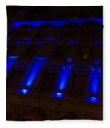 City Night Walks - Blue Highlights Facade Fleece Blanket