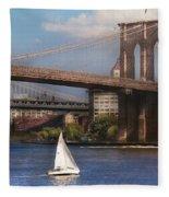City - Ny - Sailing Under The Brooklyn Bridge Fleece Blanket