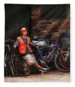 City - Ny - Waiting For The Next Delivery Fleece Blanket