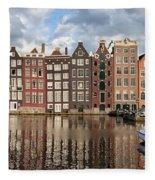 City Of Amsterdam At Sunset In Netherlands Fleece Blanket