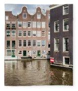 City Of Amsterdam Canal Houses Fleece Blanket