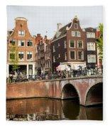City Of Amsterdam In Holland Fleece Blanket
