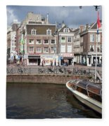 City Of Amsterdam Urban Scenery Fleece Blanket