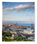 City Of Barcelona From Above At Sunset Fleece Blanket
