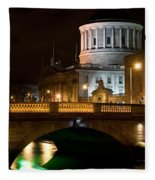 City Of Dublin At Night In Ireland Fleece Blanket