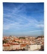 City Of Lisbon At Sunset Fleece Blanket