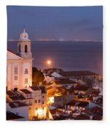 City Of Lisbon In Portugal At Night Fleece Blanket