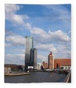 City Of Rotterdam From Erasmus Bridge Fleece Blanket