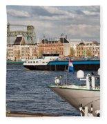 City Of Rotterdam Urban Scenery Fleece Blanket