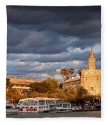 City Of Seville At Sunset Fleece Blanket
