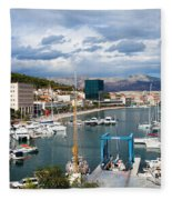 City Of Split Port In Croatia Fleece Blanket