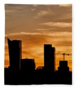 City Of Warsaw Skyline Silhouette Fleece Blanket