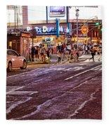 City Scene - Crossing The Street - The Lights Of New York Fleece Blanket