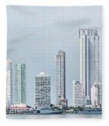 City Skyline, Bocagrande, Cartagena Fleece Blanket