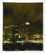 City Skyline With Milwaukee Art Museum Fleece Blanket