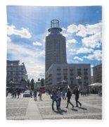 City Square In Stockholm Fleece Blanket