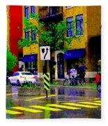 City Street Relections In The Rain Quebec Art Colors And Seasons Montreal Scenes Carole Spandau Fleece Blanket