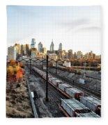 City Up The Tracks Fleece Blanket