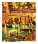 City - Vegas - Venetian - The Venetian At Night Fleece Blanket
