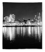 Cityscape In Black And White - Philadelphia Fleece Blanket