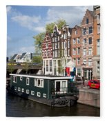 Cityscape Of Amsterdam Fleece Blanket
