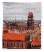 Cityscape Of Gdansk Fleece Blanket