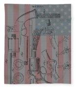 Civil War Revolver American Flag Fleece Blanket