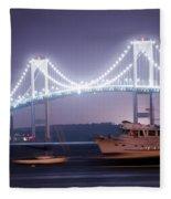 Claiborne Pell Bridge At Night Fleece Blanket