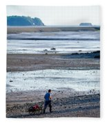 Clam Digger With Wagon Fleece Blanket